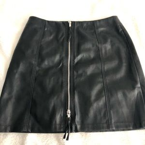 H&M faux leather zip up skirt